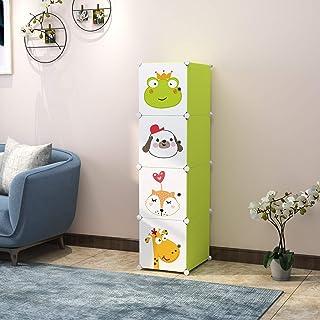 R. K. INTERNATIONAL 4 Door Plastic Sheet Wardrobe Storage Rack Closest Organizer for Clothes Kids Living Room Bedroom Small Accessories