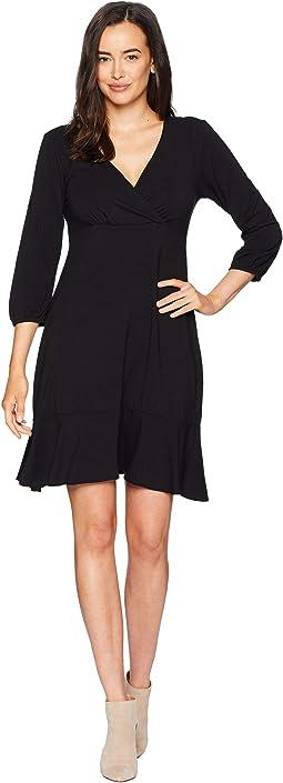 Cotton Modal Spandex Jersey Surplice Front Dress with Flounce Hem
