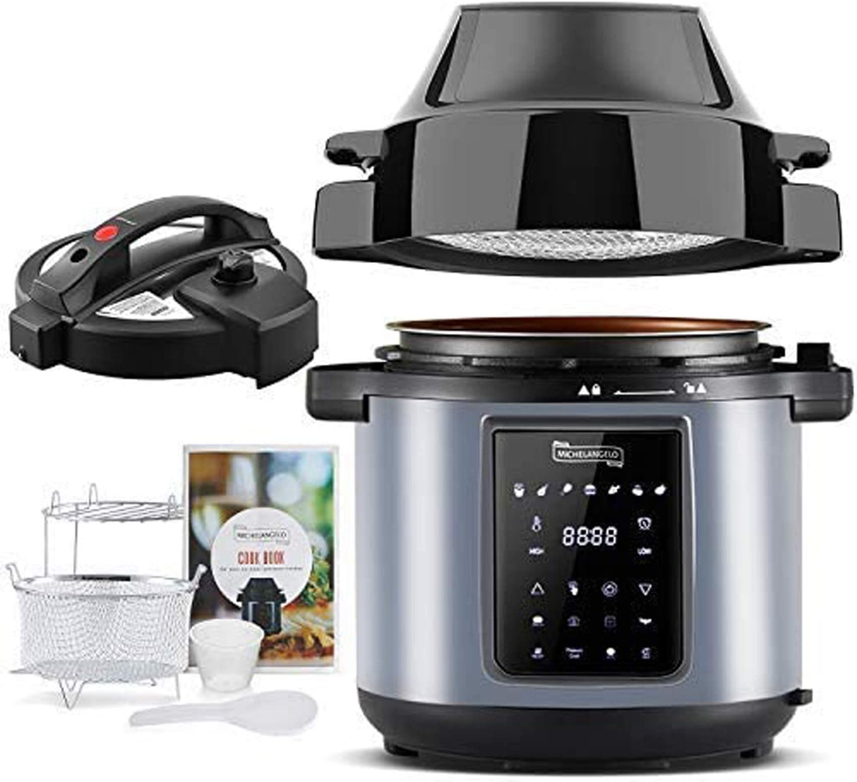 MICHELANGELO 6.5 QT Pressure Cooker Air Fryer Combo, All-in-1 Pressure Fryer with Two Detachable Lids, Steamer Basket, Roast Rack And Free Recipe Book, Air Fryer Pressure Cooker Combo - Metallic Black
