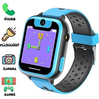 Niños Inteligente Relojes, Juegos de Pantalla táctil wach Sim Pantalla táctil Actividad de Chat de Voz de Llamada SOS para niños Escolares de 3 a 14 años de Edad(Azul Negro): Amazon.es: Electrónica