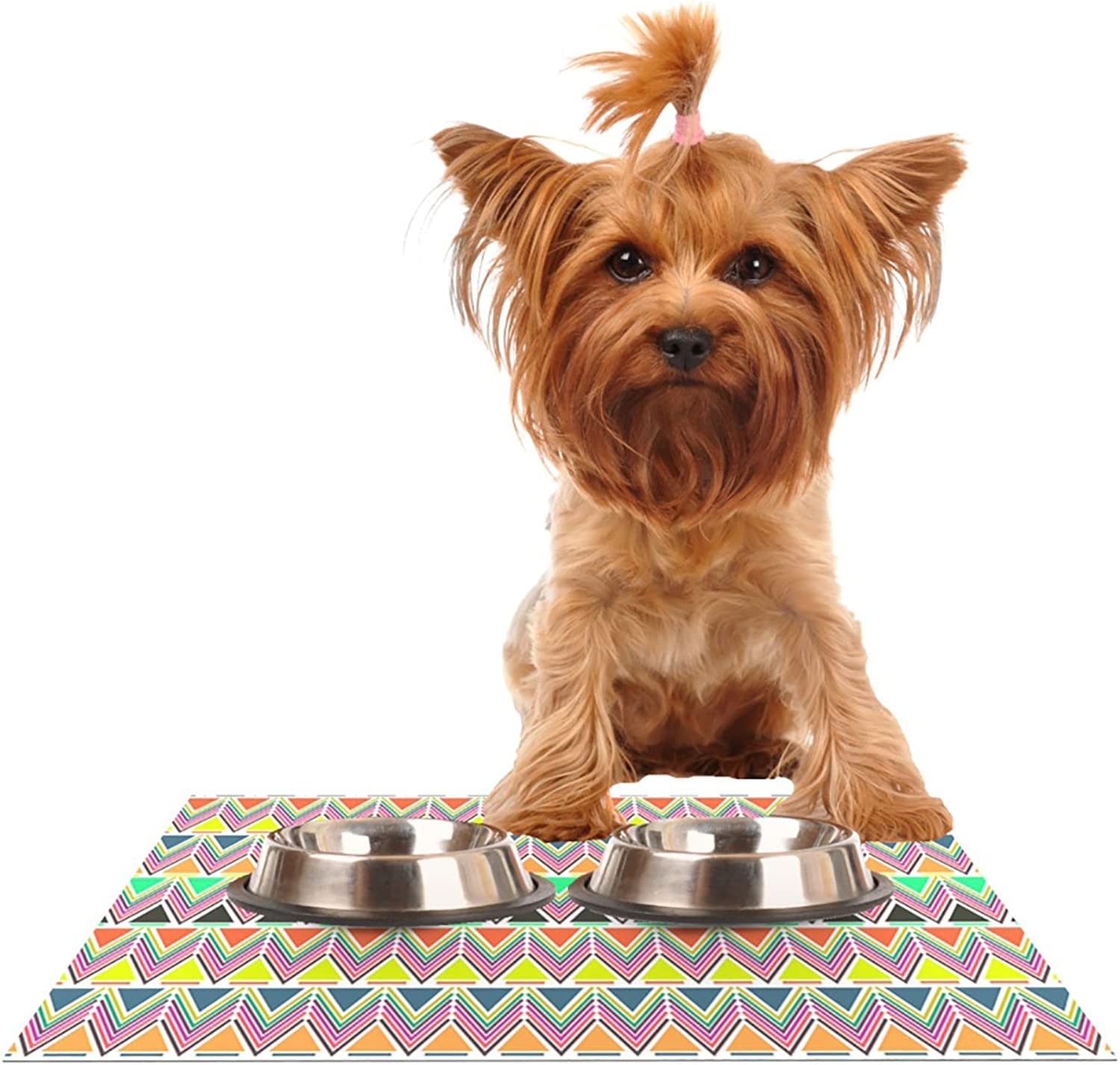 Kess InHouse Nandita Singh Pattern Play Multi  Rainbow Chevron Pet Bowl Placemat for Dog and Cat Feeding Mat, 24 by 15Inch