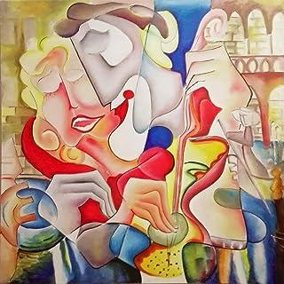 """Pintura Lienzo al Óleo Arte Abstracto Moderno """"AMOR EN VENECIA"""" por DOBOS, Cuadro Original para Decoración del Hogar"""