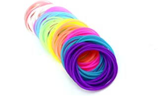 Adorox 50 Pack Silicone Jelly Bracelets Hair Ties Rainbow Colors Party Favors Birthday Gifts Prizes Assorted (50)
