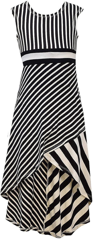 Bonnie Jean Big Girls' High Low Striped Maxi Dress
