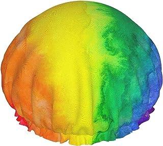 Wodoodporna czapka prysznicowa w kolorze tęczy z elastycznym obszyciem dwustronna konstrukcja do prysznica czapka do spani...