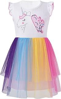 iiniim Kids Girls Summer Tulle Dress Cotton Casual Ruffle Short Sleeve Rainbow Color Mesh Tutu Dress Beach Sundress