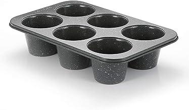Monfish Jumbo Deep Muffin pan 6 cup large cupcake pan black granite finish Carbon steel muffin tin 3.5inch cup (deep 6 cup)