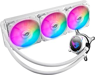 ASUS ROG Strix LC 360 RGB White Edition All-in-one Liquid CPU Cooler with Aura Sync RGB, and Triple ROG 120mm addressable ...