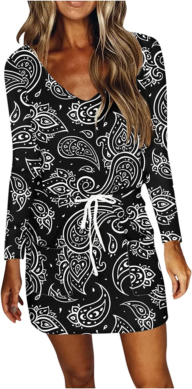 TAYBAGH Casual Dresses for Women Summer V Neck Star Printed Long Sleeve Comfy Dress Beach Short Dresses with Drawstrings