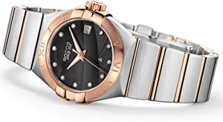 Women's Automatic Wrist Watch ROCOS Rose Gold Dress Watch with Stainless Steel and White Dial Ladies Crystal Analog Watches Luxury Classic Elegant #R1101L