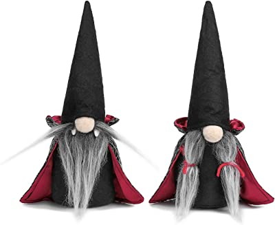 2 Pack Chirstmas Gnomes Plush Table Decorations, Nordic Figurine, Handmade Tomte Swedish Gnome Nisse Scandinavian Gnomes Ornaments with Cloak Hat Christmas Table Decorations Gifts
