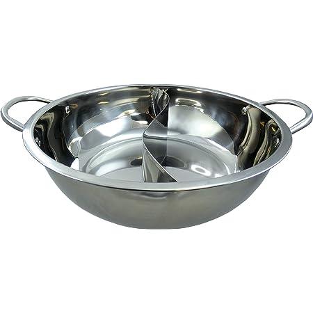 JADE TEMPLE Hot Pot Wok en acier inoxydable, avec cloison de séparation pratique et diamètre intérieur de 32 cm, avec double poignée, 1 wok Hot Pot