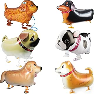 OuMuaMua Walking Animal Balloons Pet Dog Balloons - 6pcs Puppy Dogs Birthday Party Supplies Kids Balloons Animal Theme Birthday Party Decorations