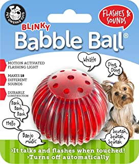 Pet Qwerks Blinky Babble Ball Interactive Dog Toys - Flashing Motion Activated Electronic Talking Ball, Lights Up & Makes ...