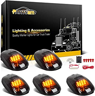 Partsam 5X Amber 12 LED Smoke Cab Roof Running Top Marker Lights 264146BK Assembly Wire Harness Replacement for Dodge Ram 1500 2500 3500 4500 5500 2003-2018 Pickup Trucks