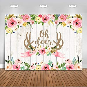 Mocsicka Oh Deer Baby Shower Backdrop Rustic Wood Girl Pink Floral Antlers Baby Shower Party Cake Table Watercolor Shower Photography Backdrop (7x5ft)