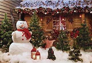 Haoyiyi 10x6.5ft Christmas Backgrounds Pine Tree Berry Gold Glitter Twinkle Star String Light Snowman Heavy Snow Backdrop Photography Adult Winter Outdoor Photo Booth Decorations Drop Drape