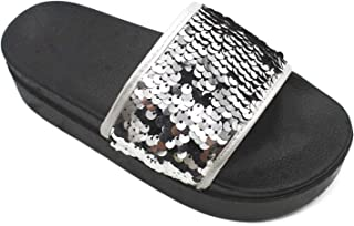 Summer Women Non-Slip Beach Slippers with Soft and Thick (Color : Silver, Size : 36)
