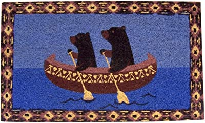 Bears in Canoe Decorative Log Cabin Themed Home Decor Coir Front Door Mat, 30 Inches