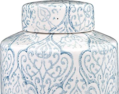 Creative Co-Op Blue & White Decorative Ginger Jar with Lid