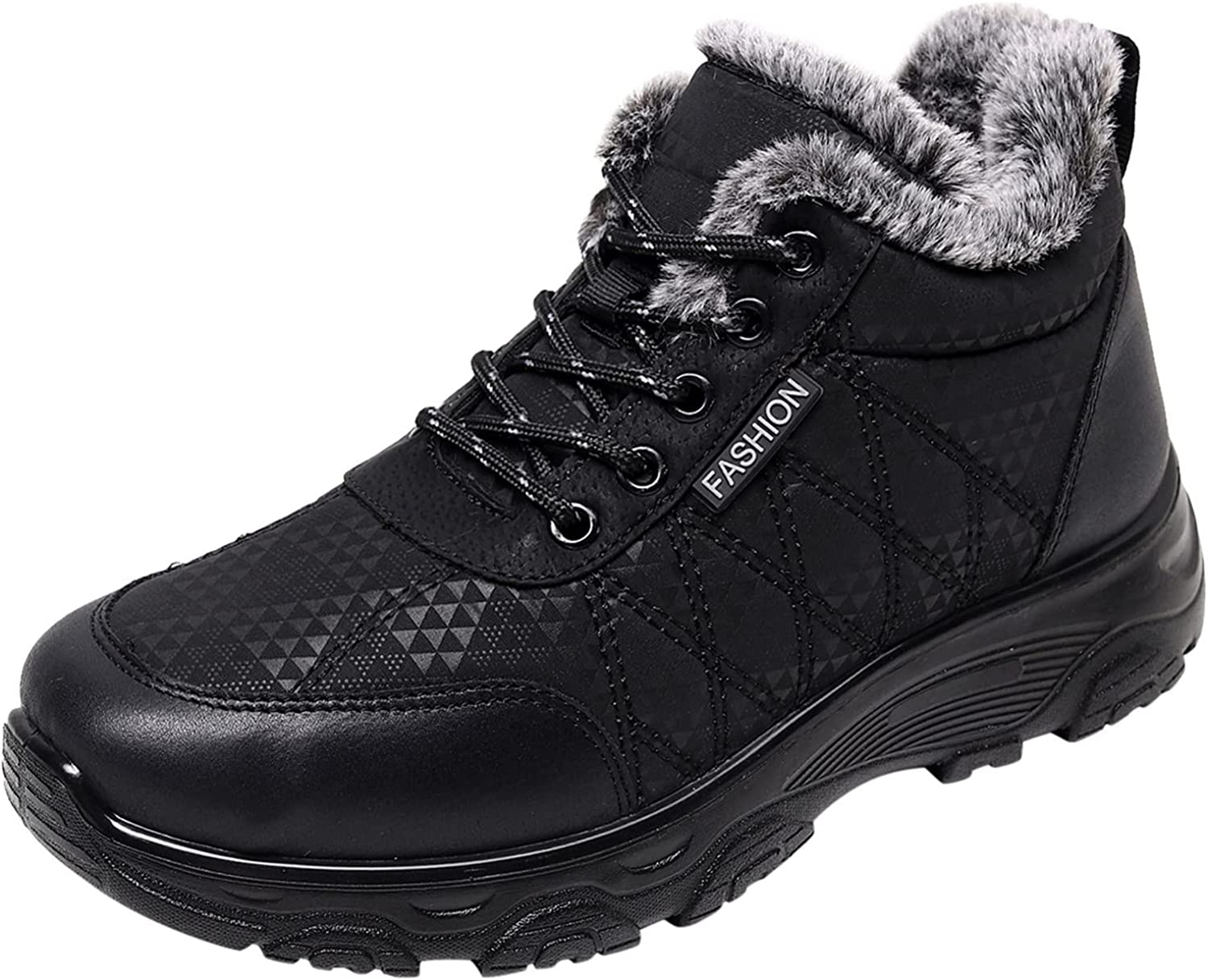 Snow Boots For Women Fashion Lace-Up Non-Slip Winter Keep Warm Flat Snow Boots Round Toe Sport Shoes