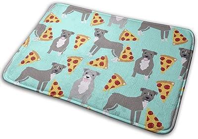 "Pitbull - Blue Pitty Pizza - Cute Dogs and Pizzas - Aqua_25687 Doormat Entrance Mat Floor Mat Rug Indoor/Outdoor/Front Door/Bathroom Mats Rubber Non Slip 23.6"" X 15.8"""