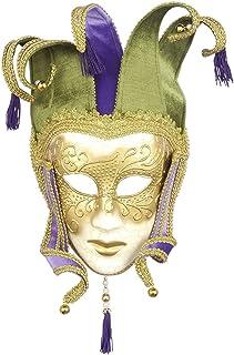 Venetian Crackle Finish Jester Mask Mardi Gras Mask 76088