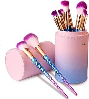 Makeup Brushes Set, Professional Makeup Brushes Kit Set with Case for Blush Liquid Foundation Eyeshadow Eyeliner Concealer Contour Highlight, Women Travel Unicorn Makeup Cosmetic Brush Purple(12 PCS)