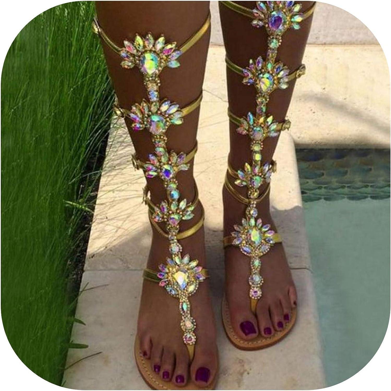QianQianStore New Women Sandals Gladiator Flats Summer shoes Women Flowers Cystal Fashion Party shoes Women