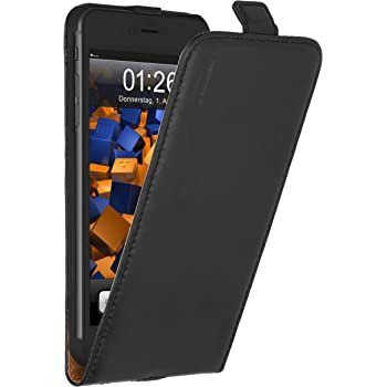 mumbi Echt Leder Flip Case kompatibel mit iPhone 4 / 4S Hülle Leder Tasche Case Wallet, schwarz