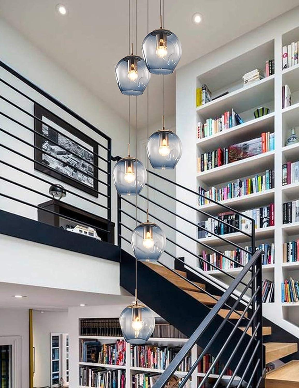 6 Glaskugeln, die Treppen lange Kronleuchter blau Duplex Gebude groe Kronleuchter Wohnzimmer Villa Hohl moderne einfache Treppe Pendelleuchte 45x150 cm