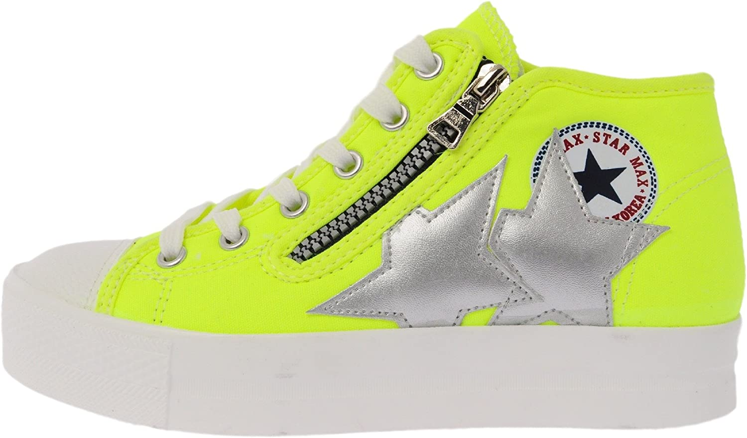 Maxstar C5 6Holes Synthetic Leather White Platform Canvas Sneakers