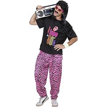 Costume Anni 80 Glam Rock Costume Heavy Metal Musica Rocker Grande Capelli Anni 80 Abito per Adulti Grande