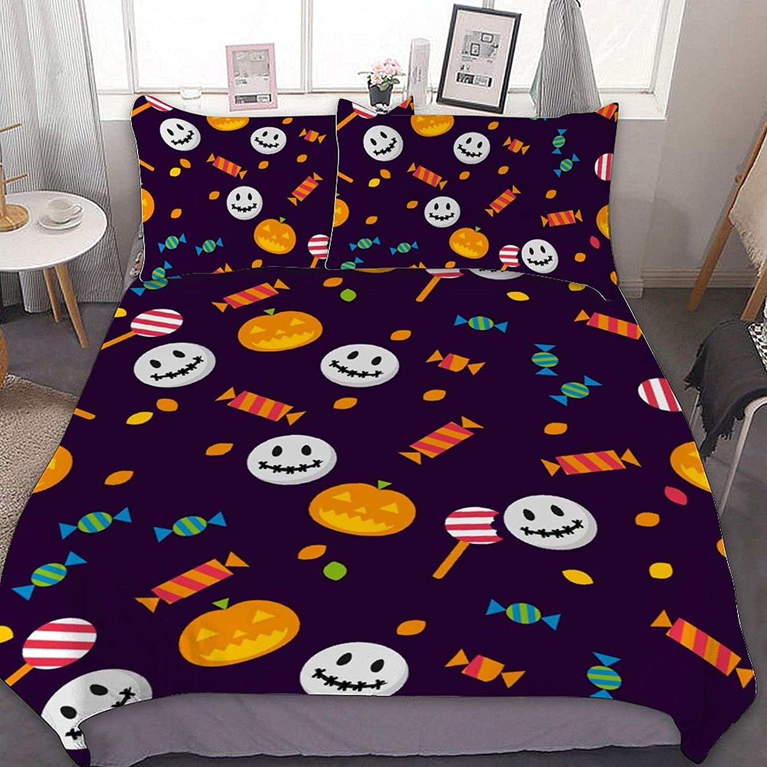 Halloween 3PCS High material Bedding Comforter Sets 1 Manufacturer regenerated product Cover with Pillowcases 2