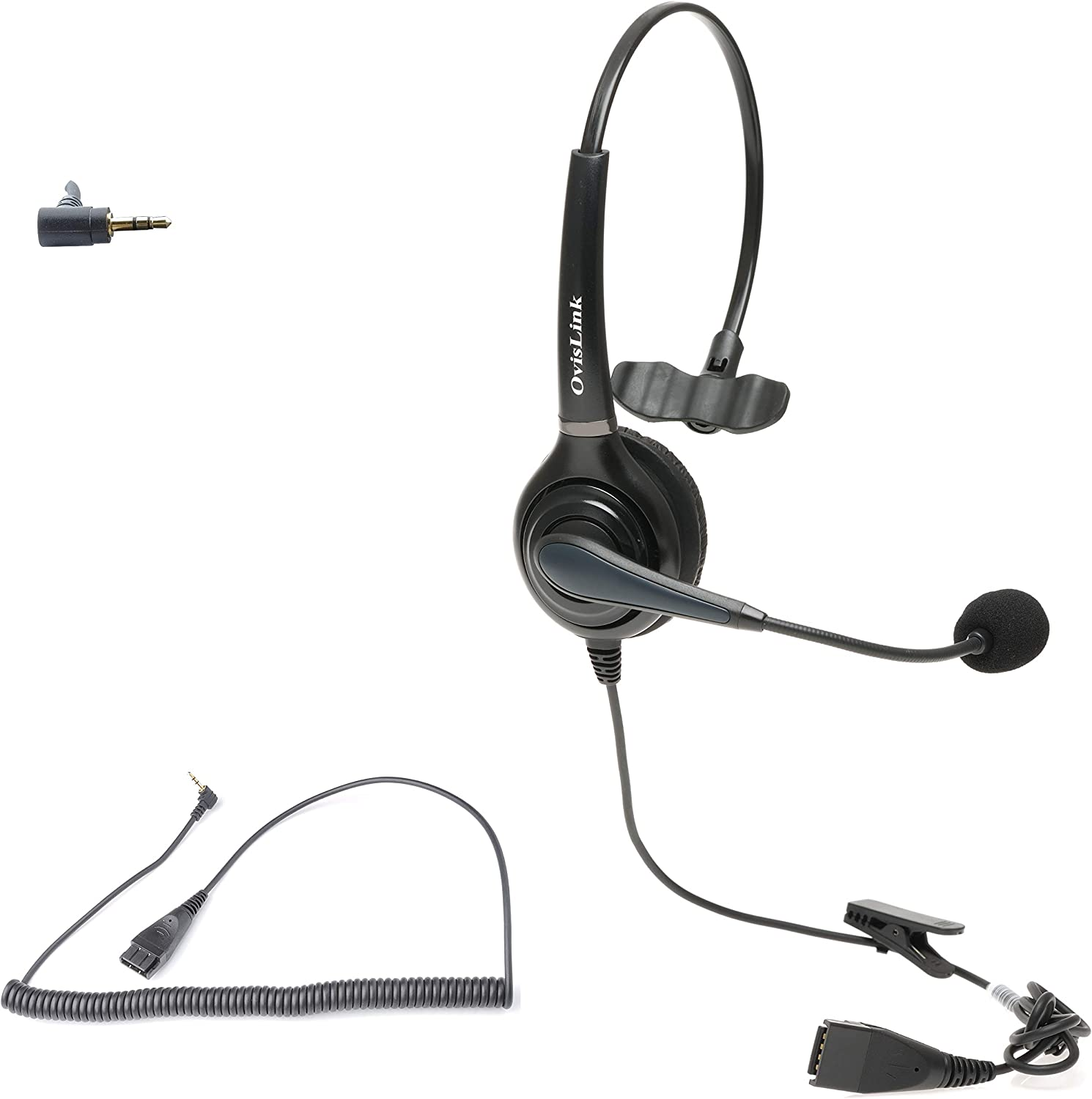 OvisLink Headset | Compatible with Cisco Small Business Phone SPA501G, 502G, 504G, SPA508G, SPA509G | Call Center Headset with Noise Canceling Microphone | HD Voice Quality | Rotatable Microphone