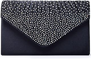 Women's Rhinestone Satin Frosted Evening Wedding Clutch Bag Handbag Purse