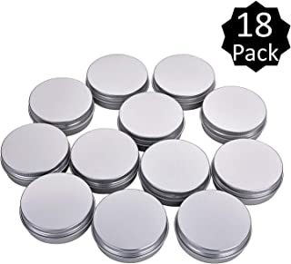 Fizz 2 Oz Aluminum Tins Cans Round Storage Jars Containers Screw Lids Metal Tins Travel Tins Cosmetic Refillable Containers,Pack of 18(Silver)