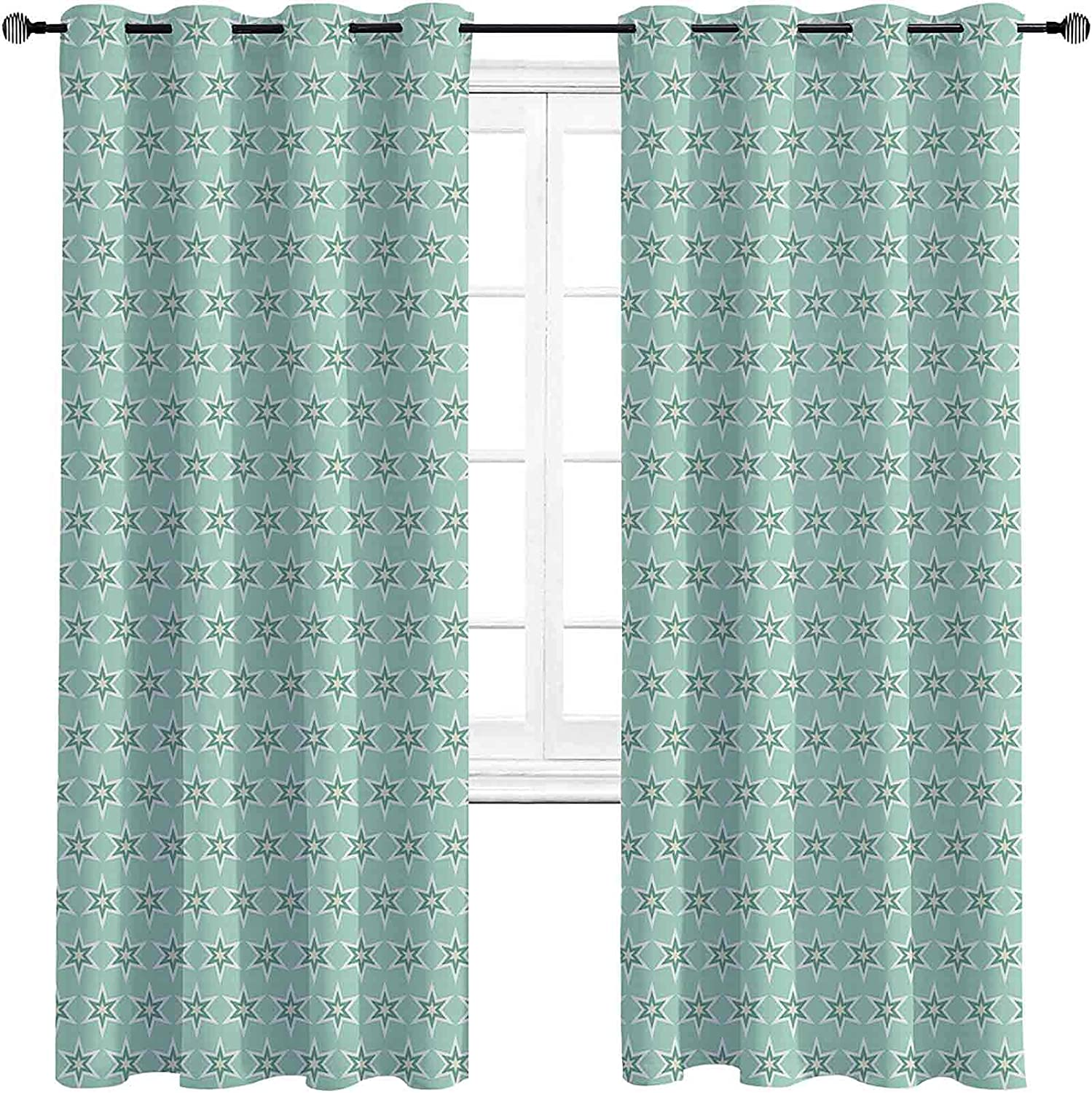 supreme Turquoise Blackout Curtains with Grommets Monochrome Seattle Mall darken Sta