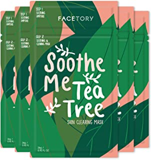 FaceTory Soothe Me Tea Tree 2-Step Sheet Mask with Tea Tree Oil for Acne Prone Skin (Pack of 5)