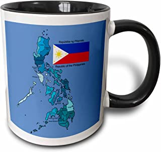 3dRose 114186_4 Flag and map of the Republic of the Philippines with all regions colored and labeled Two Tone Mug, 11 oz, Black/White