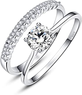 1.2ct Round Cut White CZ 925 Sterling Silver Crown Wedding Band Engagement Ring Bridal Set