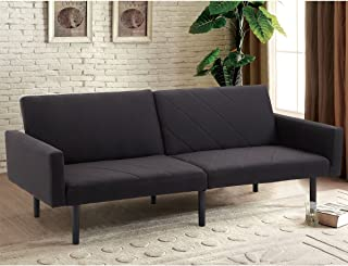 Giantex Futon Sofa Bed Convertible Recliner Couch 5 Reclining Positions Modern Split-Back Sofa Sleeper with Linen Upholstery & Wood Legs (Black)