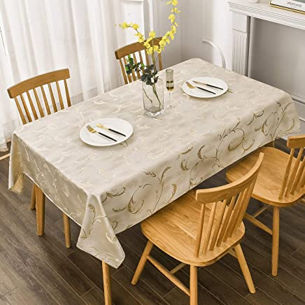 Villa Feel Leaf Embroidered Table Cloth Classic Luxurious Decorative Tablecloth Spill-Proof and Water Resistance Table Cover for Kitchen Dining (Rectangle/Oblong, 54 x 102 Inch,Ivory Golden)