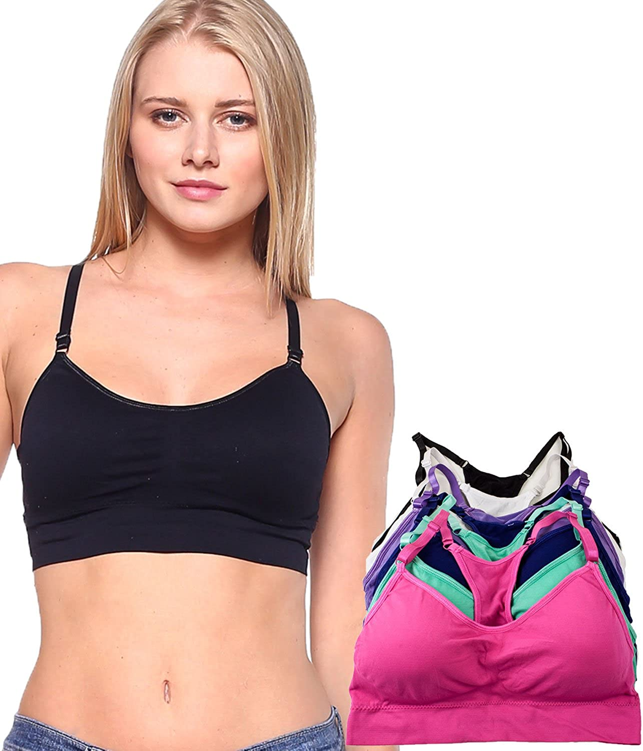 Barbra Lingerie 6 Pack of Regular & Plus Size Wirefree Sleep Yoga Sport Bras with Removable Pads