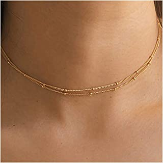 Gold Chain Choker Necklace,14K Gold Filled Dainty Cute Lip Chain Long Necklace Delicate Fashion Choker Necklace Jewelry Gift for Women