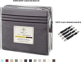 Clara Clark Premier 1800 Series 4pc Bed Sheet Set - Queen, Charcoal Stone Gray, Deep Pocket Bundle with UBER Comfort Set of 4 Corner Adjustable Bed Sheet Straps Suspenders Grippers Fasteners