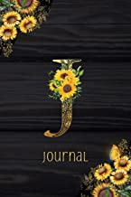 J Journal: Sunflower Journal, Monogram Letter J Blank Lined Diary with Interior Pages Decorated With More Sunflowers.