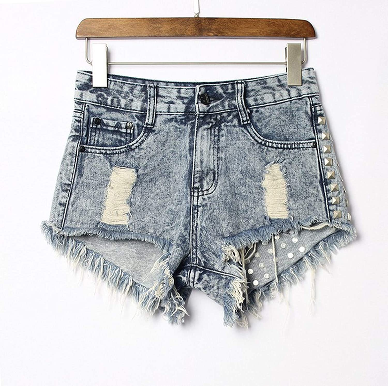 Colasite Denim ShortsVintage Tassel Rivet Ripped High Waisted Short Jeans Punk