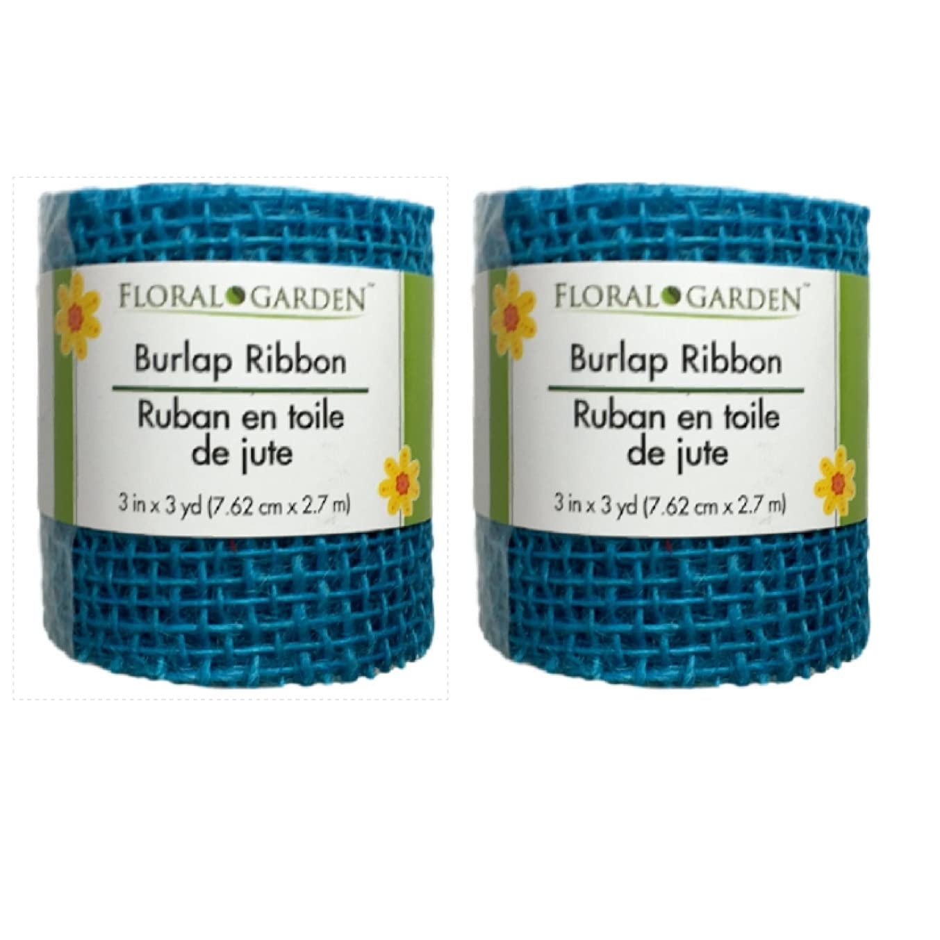 Floral Garden Burlap Ribbon Set of 2 (2 Rolls, Blue)