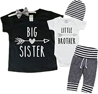 Big Sister/Little Brother Set. Matching Big Sister Little Brother Set 0-3Mo Bodysuit & 4T Shirt